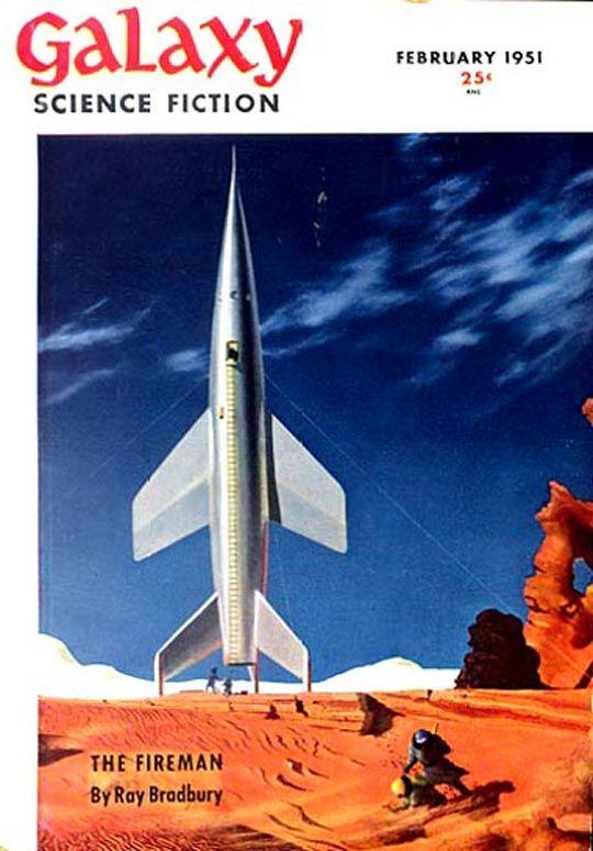 Galaxy, Feb. 1951, cover by Chesley Bonestell