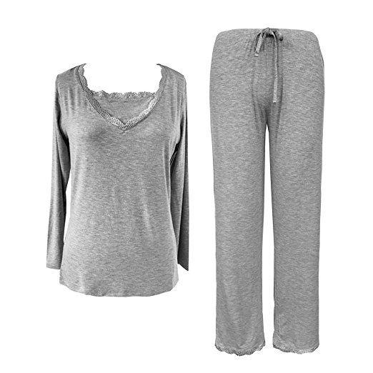 Sleepy Time Women's Bamboo Pajamas, Hot Flash Menopause Relief PJS, V Neck (Large, Grey)