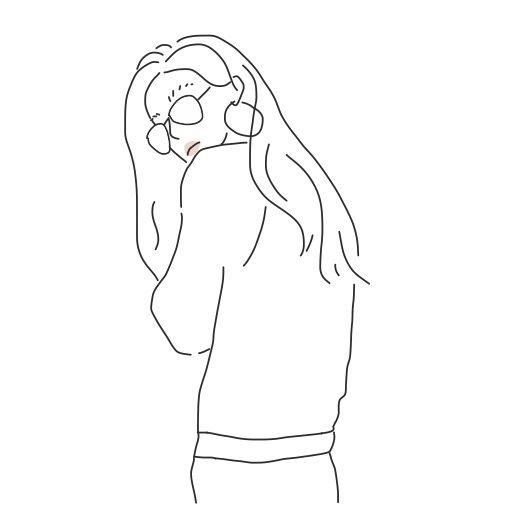 女の子 ガール かわいい イラスト 手書き 韓国 可愛い イラスト スケッチアート
