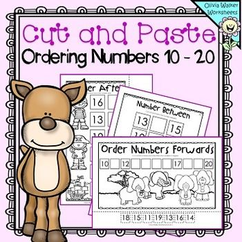 Cut and Paste Ordering Numbers 10 - 20 (Order Teen Numbers ...