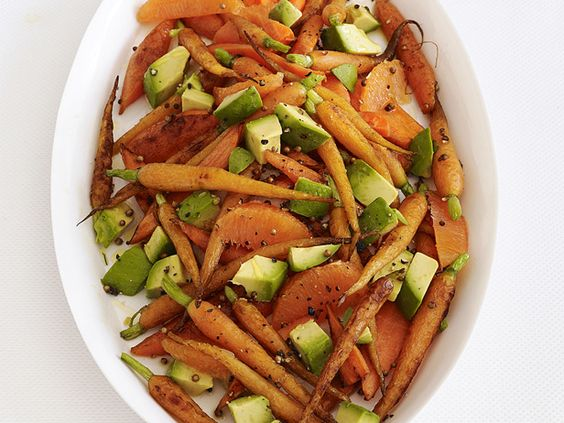 Roasted Carrots With Avocado #FNMag #myplate #veggies