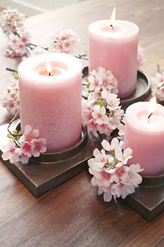 Spring Has Sprung The Grass Has Riz So It S Time To Adjust Your Beauty Routine Accordingly And With Cherry Cherry Blossom Decor Candles Cherry Blossom