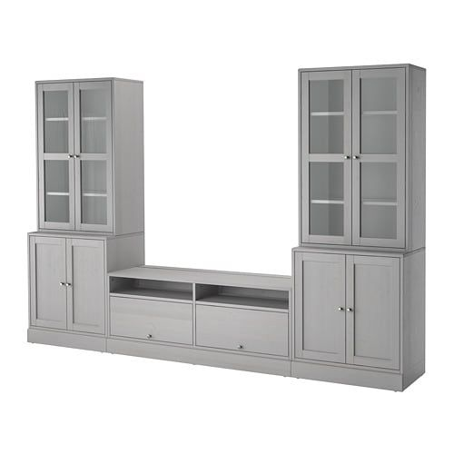 Havsta Grey Tv Storage Combination Glass Doors 322x47x212 Cm Ikea Tv Storage Family Room Storage Built In Entertainment Center