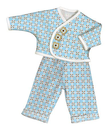 Another great find on #zulily! Blue Geometric Wrap Top & Pants - Preemie #zulilyfinds