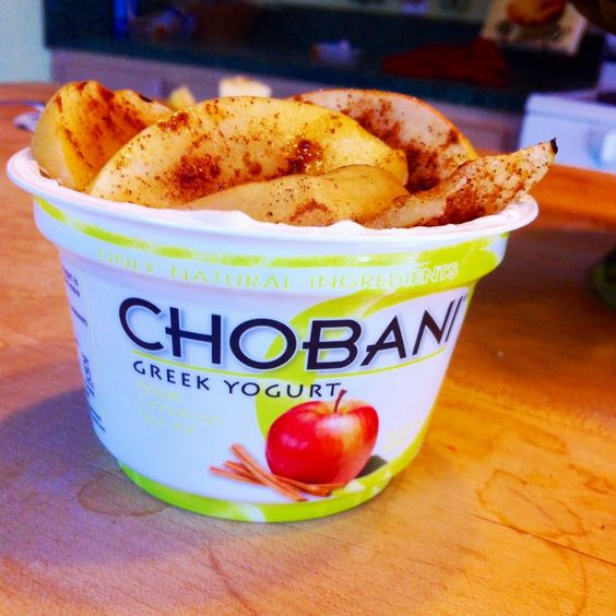 Apple cinnamon chobani topped with crunchy cereal and actual cinnamon apples. #TasteReal