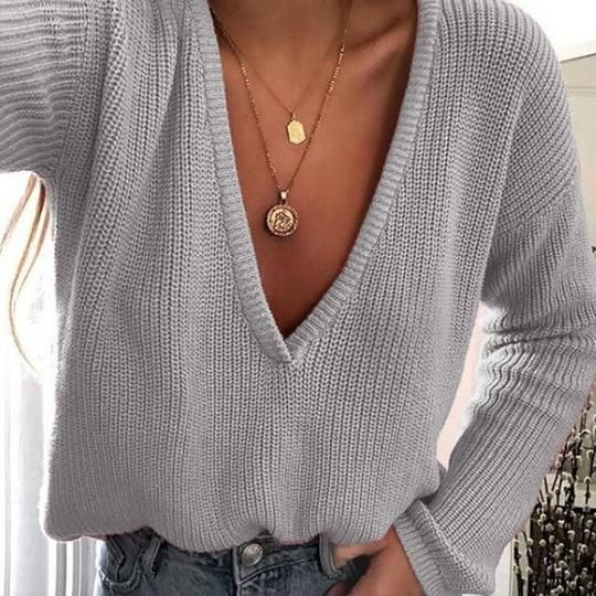 Women Casual Deep V Neck Knitted Sweater Jumper Tops Long