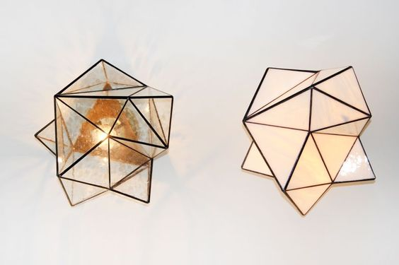 """Geo glass wall sconce  rice $$s 1250 m $1350 l $1850 Length Sm 10"""" Md 12"""" Lg 16"""" Width Sm 10"""" Md 12"""" Lg 16"""" Height Sm 6"""" Md 10"""" Lg 12"""""""