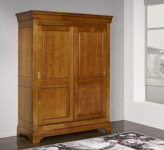 Armoire 2 portes Clara  en Merisier Massif de style Louis Philippe PORTES COULISSANTES  <br>Prix malin 1855.00 EUR - 10 % , meuble en Merisier massif