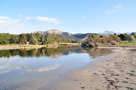 Corsica - Fleuves et Rivières - L'embouchure du Chiuni. Le Chiuni est une rivière de Corse-du-Sud et un fleuve côtier qui se jette en Mer Méditerranée dans le golfe homonyme le golfe de Chiuni.D'une longueur de 15,8 kilomètres, le Chiuni prend sa source sur la commune de Marignana à l'altitude 1 102 mètres, à moins d'un kilomètre à l'ouest du Capu a e Macenule (1 226 m)
