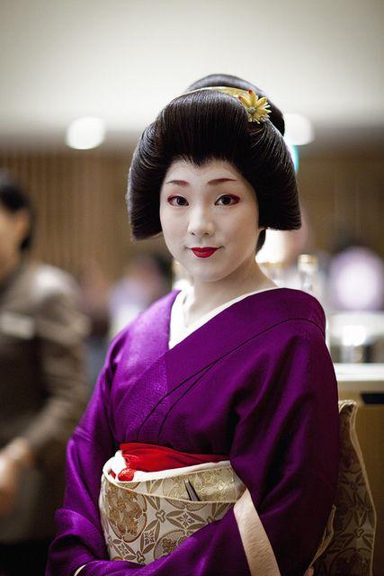 purple kimono on Geisha