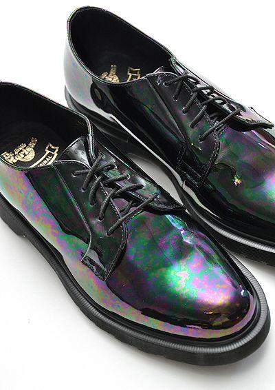 Dr Martens Reinvented  Mens Black Patent Lace Shoes