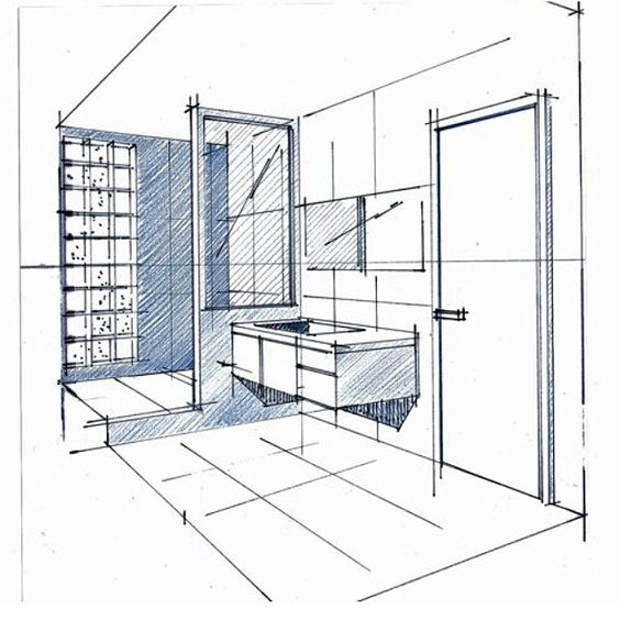 Bathroom Sketching Tbt Visualize Fit Perspective Drawing Ink Client Mockup