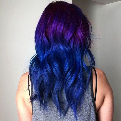 Blue and purple ombre hair - these two colors are blended together to create a graduated transition
