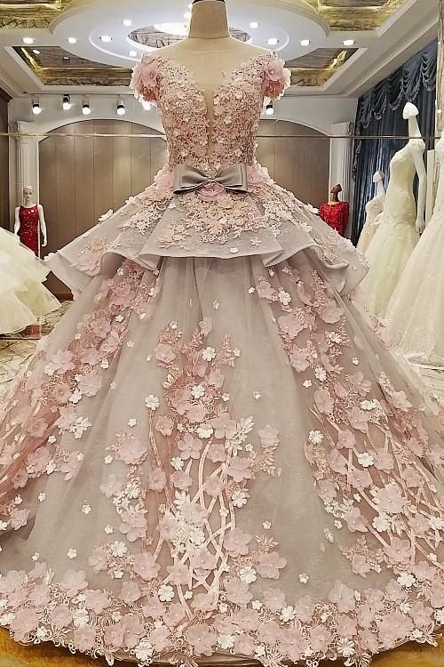 Luxurious Colored Wedding Dress Ball Gown With 3d Floral Lace Sheer Wedding Dress Ball Gowns Wedding Dresses Lace