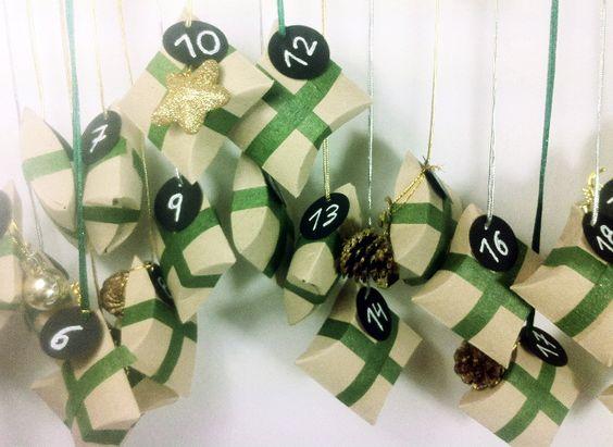 Calendario de adviento casero hecho con rollos de papel wc for Calendario de adviento casero