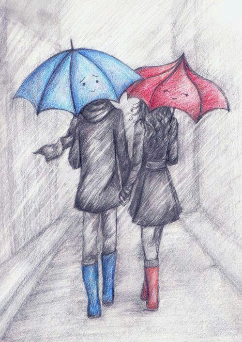 Sketches of couples in rain