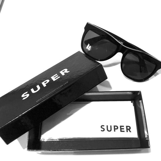 Excellent Sunnies by Retrosuperfuture (SUPER) All black wayfarers in EXCELLENT condition. No scratches on lenses or frame. Comes with original box (with price tag) and sunglasses wipe. Made by SUPER, made in Italy. Super Sunglasses Accessories Sunglasses
