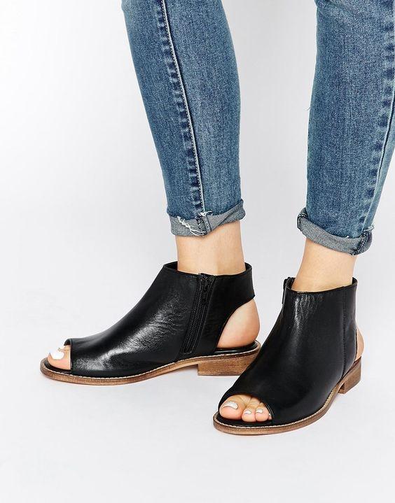 Image 1 of ASOS AALIYA Open Back Peep Toe Leather Ankle Boots ...