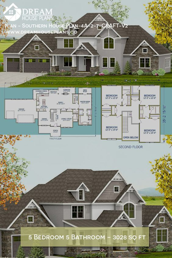 Dream House Plans Affordable Southern Family 5 Bedroom 3028 Sq Ft House Plan With A Basement W Dream House Plans Colonial House Plans Southern House Plans
