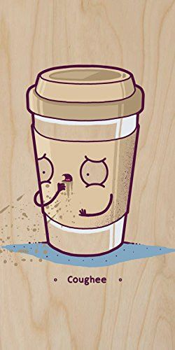 'Coughee' Coffee Cup Pun - Plywood Wood Print Poster Wall Art