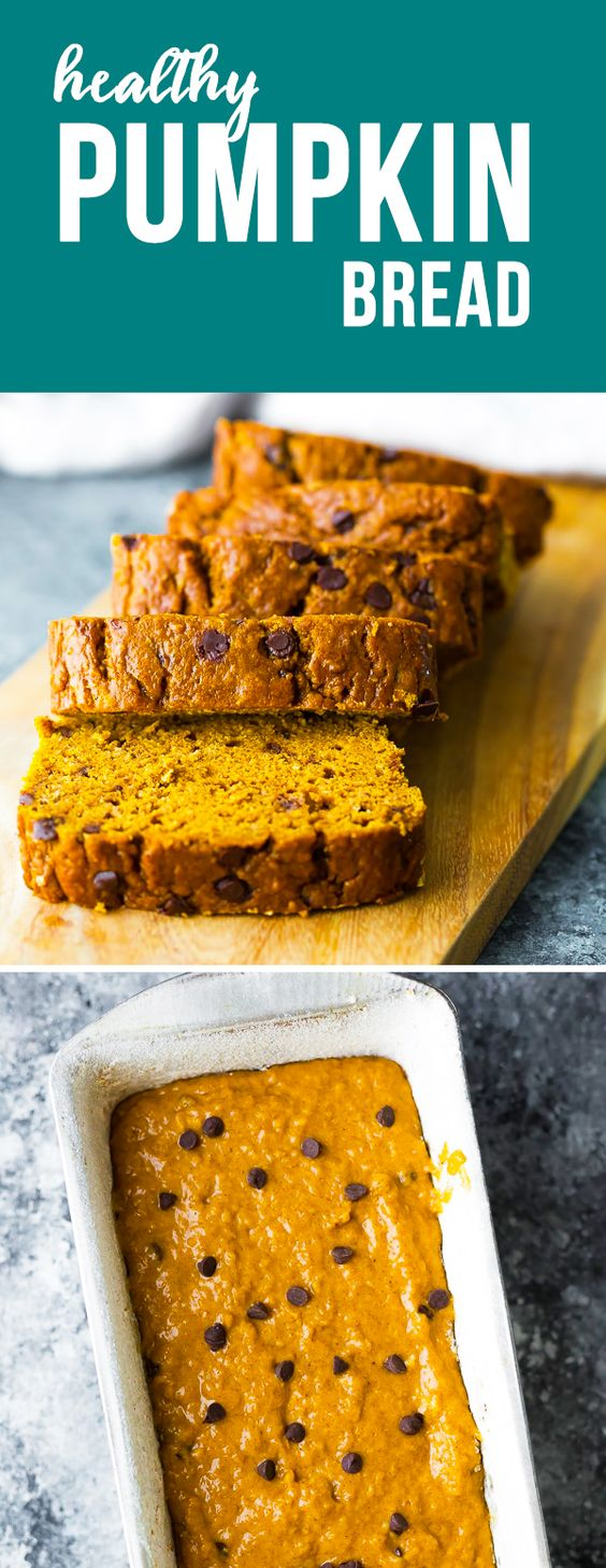 This healthy pumpkin bread recipe is perfect with a cup of coffee! With half whole wheat flour, very little oil, and a whole lot of pumpkin flavor. #sweetpeasandsaffron #pumpkin #dessert