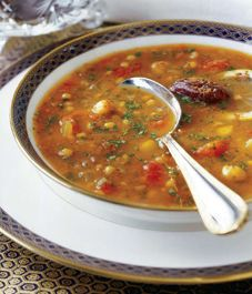 Moroccan Harira - delicious, flavorful, even kid friendly lentil soup, Lily's new favorite!