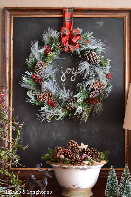 chalkboard + wreath = joy | holiday home decor