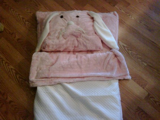 sleeping bag made to replicate her ever-present bunny