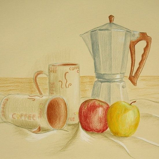 Still life with coffee cups and apples