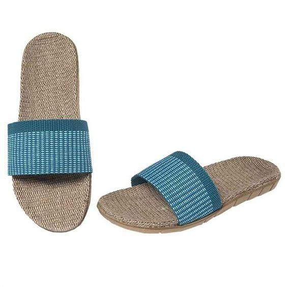 Blau Sommer Leinen Pantoffeln Erwachsene