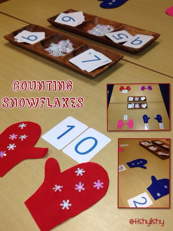 Counting snowflakes. Match to numbers, find ways to make an amount. Doubling.
