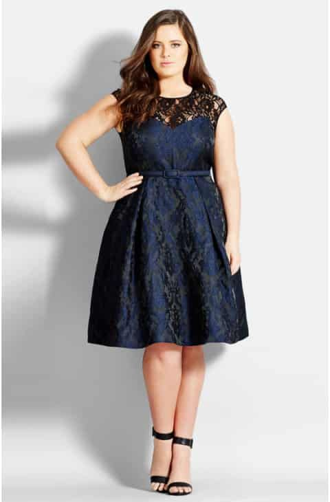 Save the City Chic Lace Neck Brocade Dress (Plus Size ...