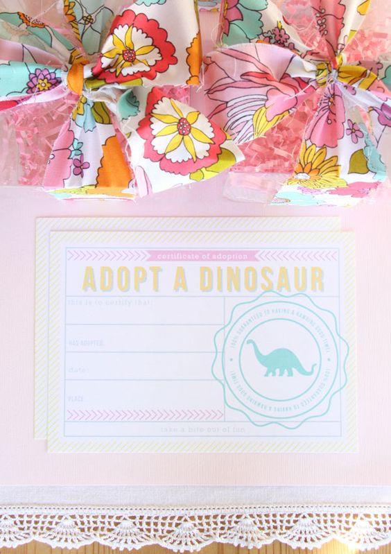 Girly dino party adopt a dinosaur favor confetti for Girly dinosaur fabric