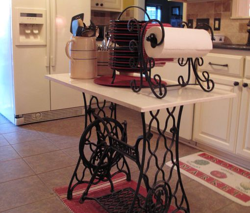 antique sewing table repurposed as kitchen island 20