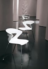 Set 2 sedie moderne Casa - Ufficio seduta Polipropilene 8 colori gambe acciaio