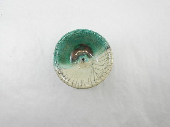 Portaincenso tondo in ceramica raku