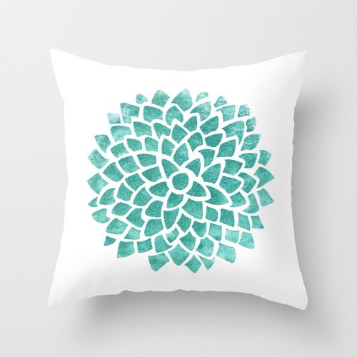 Teal Ice Throw Pillow