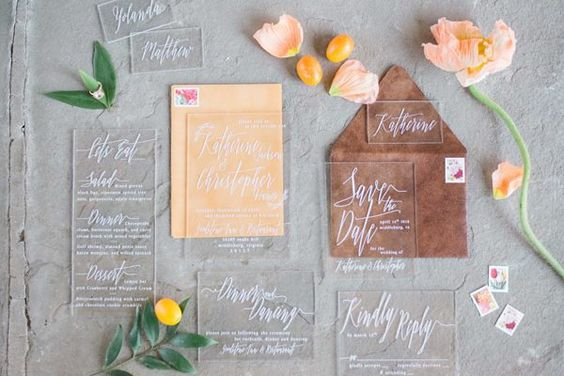 copper colored wedding invitations - photo by Becca B Photography http://ruffledblog.com/colorful-virginia-spring-wedding-inspiration