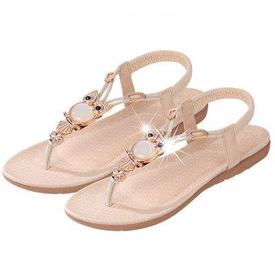 High Quality Classic Rhinestone Owl Accent Comfort Sandals 3 Colors