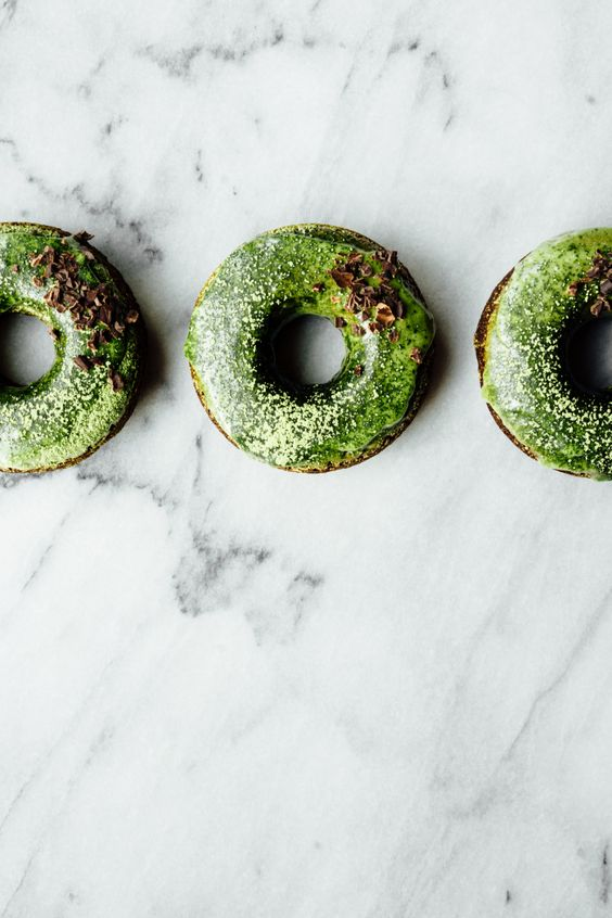 Chocolate Donuts with Matcha Glaze