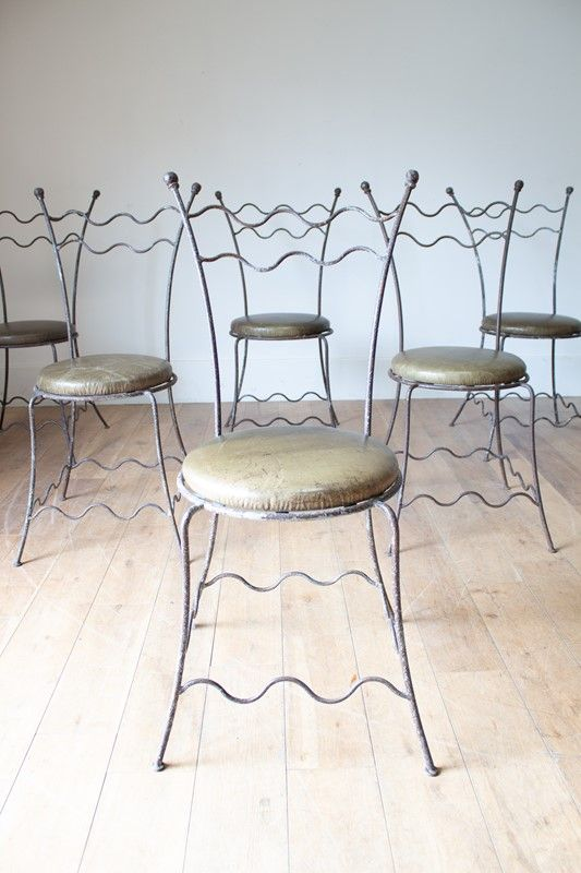 A Set Of 6 Wrought Iron Chairs Decorative Collective With