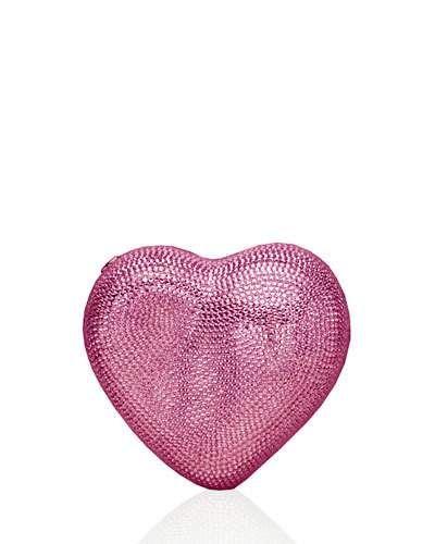 V2H5D Judith Leiber Couture Heart Crystal Clutch Bag, Silver/Light Rose