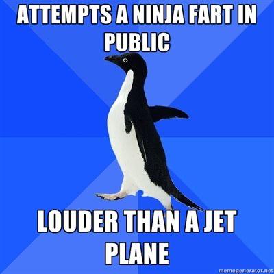 socially awkward penguin fart