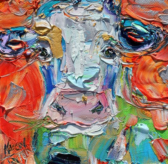 Cow painting original oil 6x6 palette knife by Karensfineart                                                                                                                                                     More