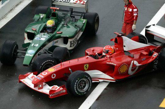 Michael Schumacher & Mark Webber pit collision - Ferrari F2003-GA & Jaguar R4 - 2003 - French GP