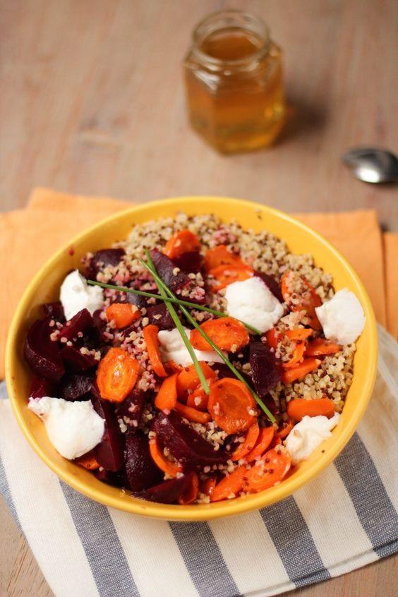 Salade+boulgour,+quinoa,+carottes+rôties+au+miel+et+betterave