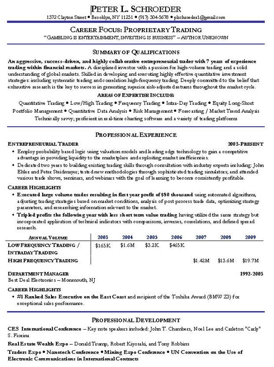 Proprietary Trading Resume -    wwwresumecareerinfo - cover letter sales associate