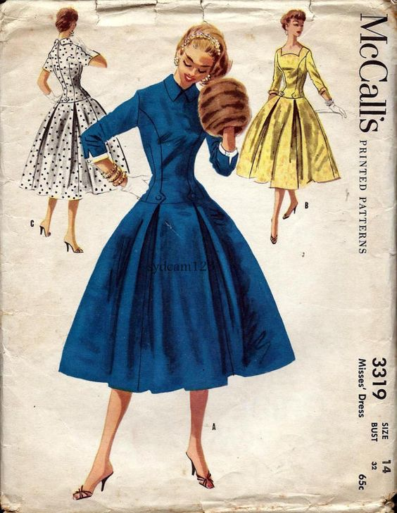 vintage 1950s button tab dropwaist dress pattern curved