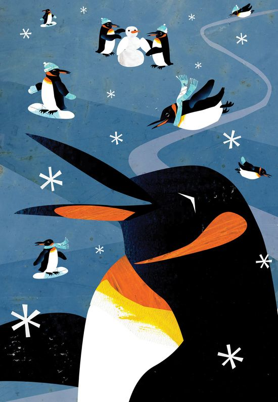 Penguins in the Snow, Holiday Art Print