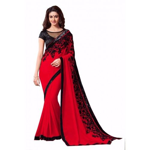 RED FLOWER BOLLYWOOD SAREE_00